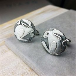 Country Hare Silver Cufflinks - adv122_hare