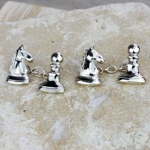 Knight Takes Pawn Chess Silver Cufflinks