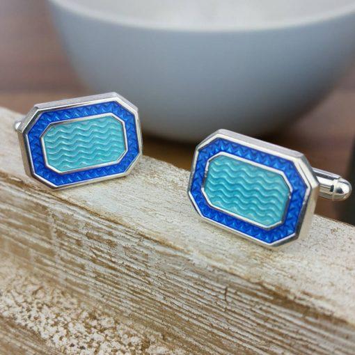 Mañana Silver And Blue Enamel Cufflinks
