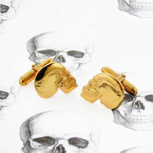 Gold Plated Skull Cufflinks