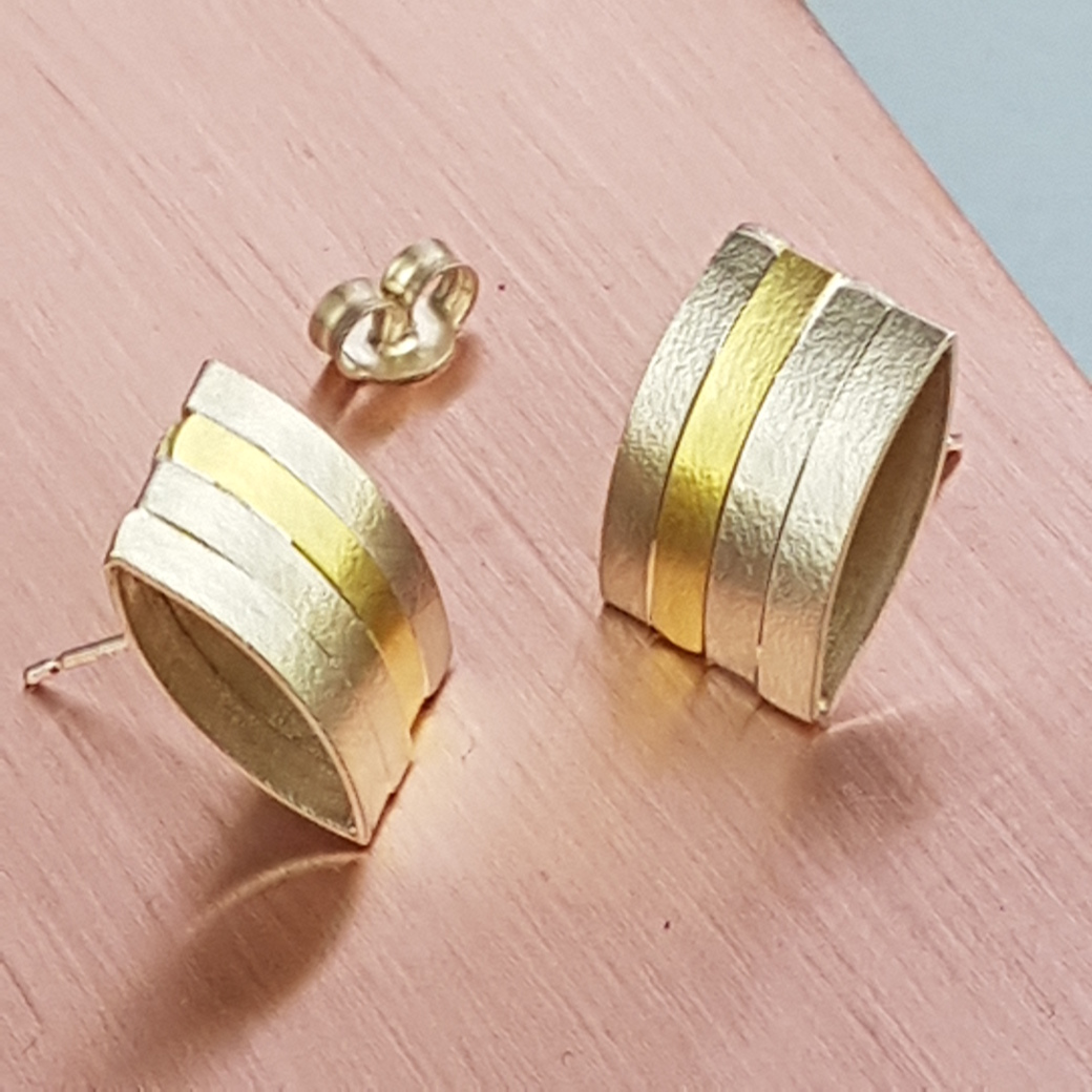 Satin finish Silver & Vermeil Earrings - Artfull Expression