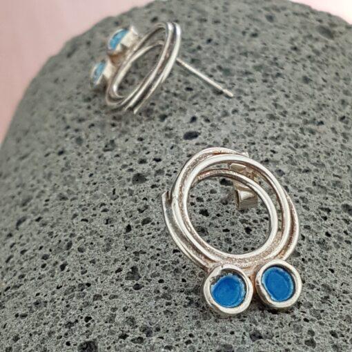 Silver Earrings With Blue Vitreous Effect by Miranda Sharpe