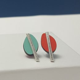 Spectra Small Reversible Studs in Orange and Mint