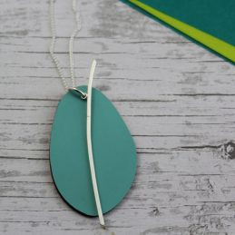 Spectra Large Reversible Pendant In Mint and Orange