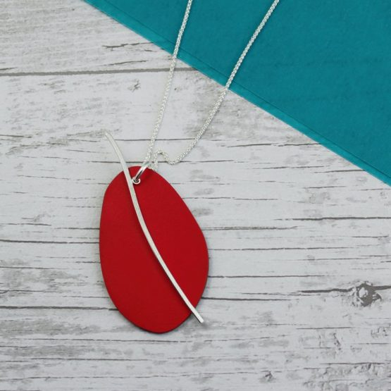 Spectra Large Reversible Pendant In Red and Grey