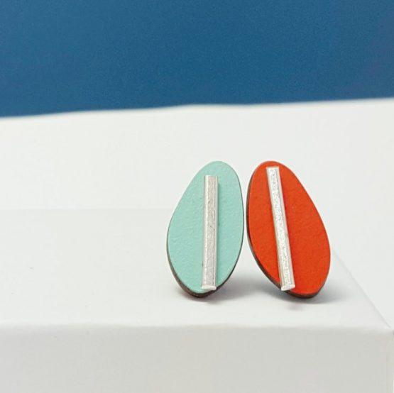 Spectra Large Reversible Studs Mint/Orange