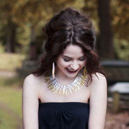 Shimmer Full Collar Necklace In Silver & 24 Carat Gold