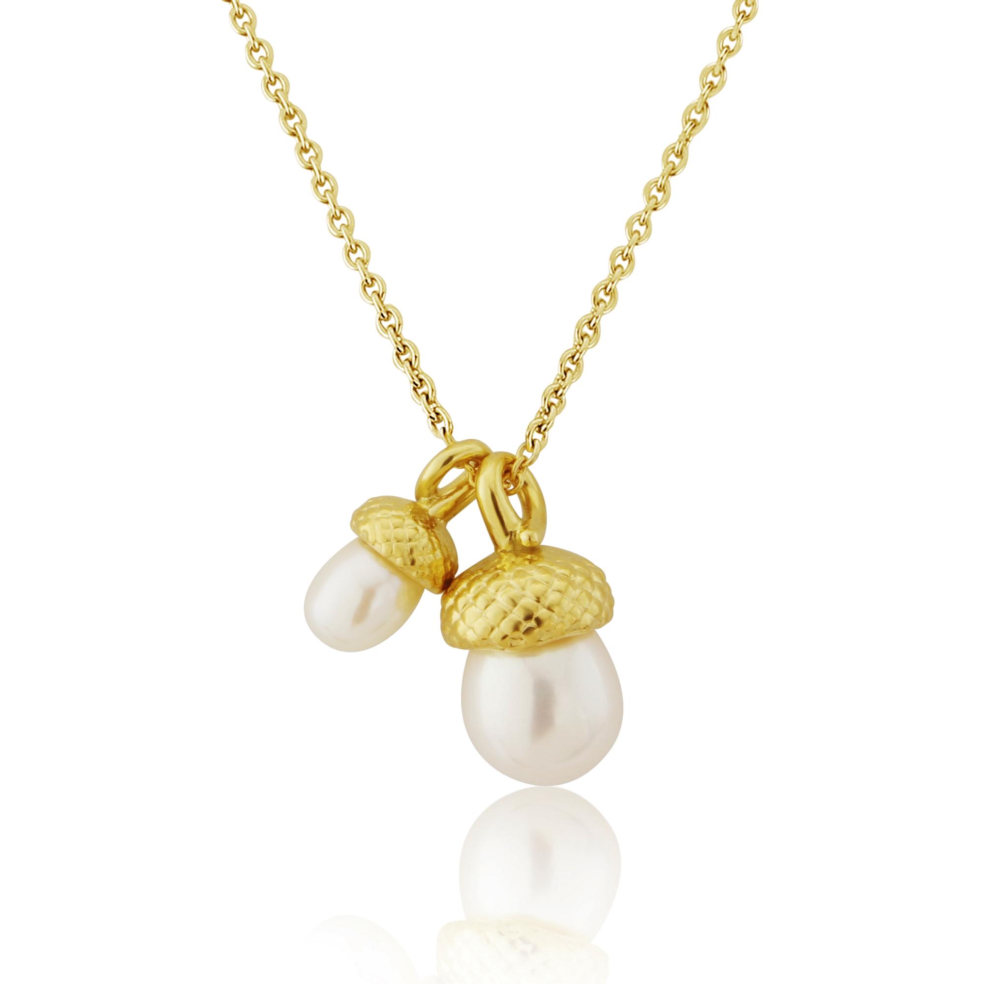 Gold vermeil double pearl acorn pendant artfull expression gold vermeil double pearl acorn pendant mozeypictures Image collections