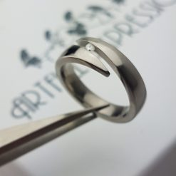 Titanium Ring Close Set with Diamond. Titanium Rings from Artfull Expression, Jewellery Quarter, Birmingham, UK.