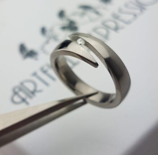 Titanium Ring Close Set with Diamond. Titanium Rings from Artfull Expression, Jewellery Quarter, Birmingham, UK.