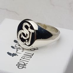 Sterling Silver Signet Ring with Monogram and hallmarked