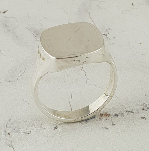 Squared Sterling Silver Signet Ring by David-Louis a creative and original take on traditional silver signet ring design. Hallmarked Silver.