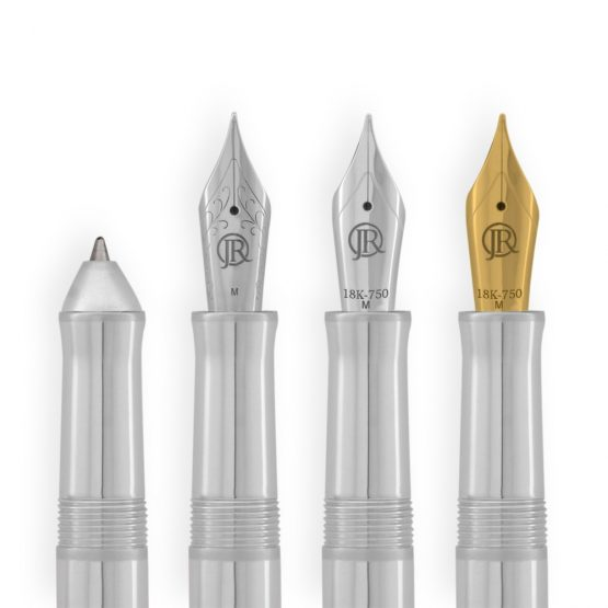 Jack Row Mirage Silver Pens all Writing Options. Handcrafted Luxury Silver Pen in Sterling Silver by British pen designer & silversmith Jack Row available on Artfull Expression.