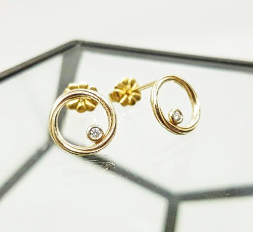 Diamond Set Twist Gold Earrings at Artfull Expression – The Home Of Independent Jewellery Design, Jewellery Quarter Birmingham
