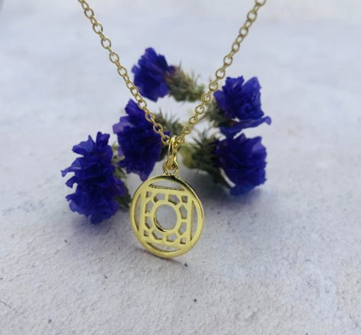 Rose Window Pendant in sterling silver with gold vermeil