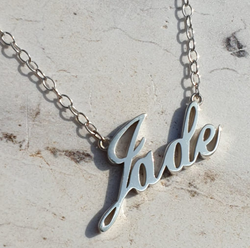 Silver Name Pendant - Name Pendant - Handmade Silver Name Pendant unique high quality sterling silver jewellery. Name pendant up to 8 letters & pre-approval drawing. Artfull Expression, Birmingham, UK